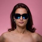 Очки солнцезащитные Clubmaster, Оправа черно-коричневая, линзы голубые зеркальные, 15*14*5см