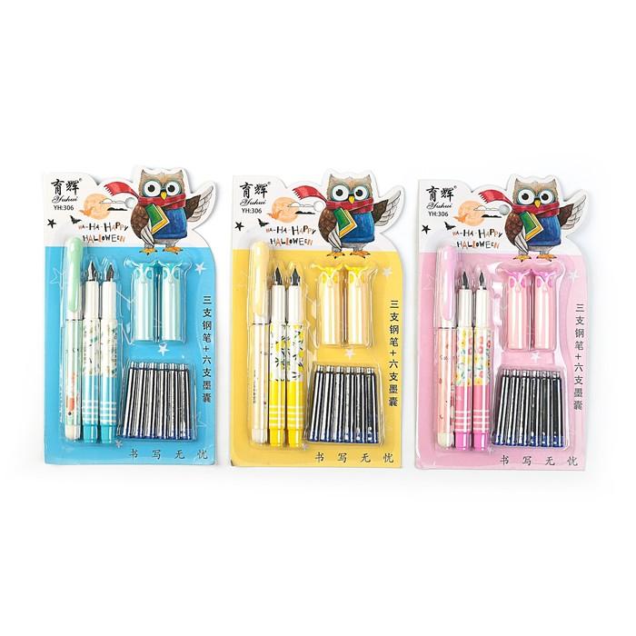 Ручки перьевые, 3 шт., 6 шт. синих картриджей, на блистере, МИКС