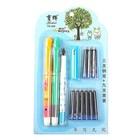 Ручки перьевые 3шт+9картриджей синих на блистере МИКС