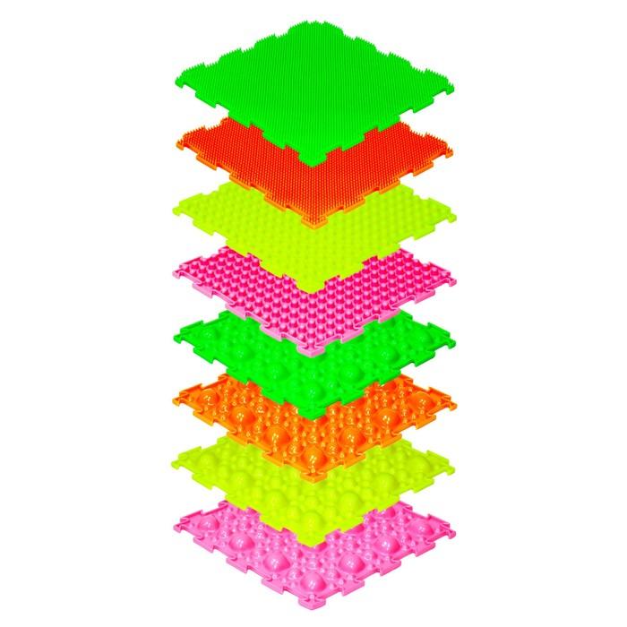 Детский массажный коврик «Орто», 8 модулей, набор № 1, флуоресцентные цвета, МИКС - фото 416413946