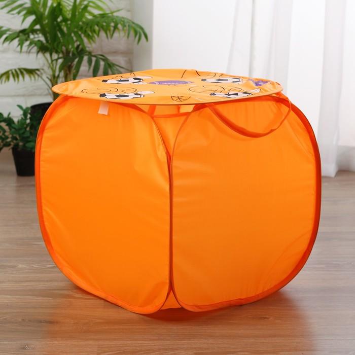 """Корзина для игрушек """"Баскетбол"""" с ручками и крышкой, цвет оранжевый"""