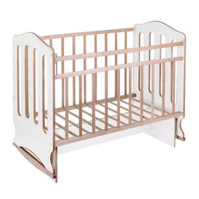 Детская кроватка «Чудо» на качалке с поперечным маятником, цвет белый/берёза
