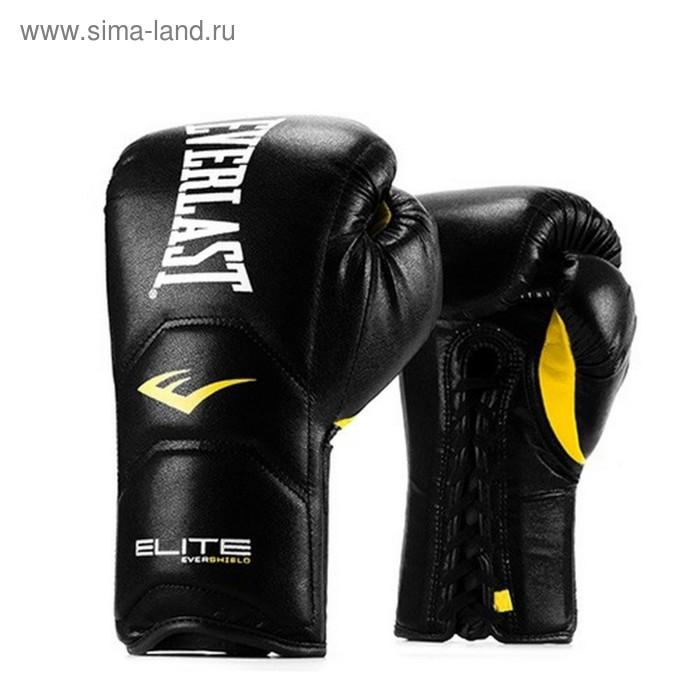 Перчатки тренировочные на шнуровке Elite Pro 18oz черный
