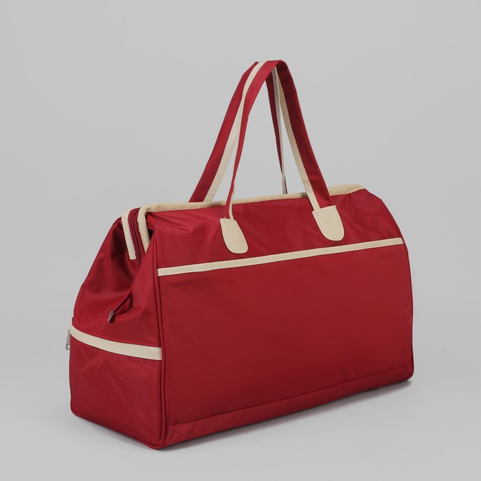 Сумка дорожная, отдел на молнии, 3 наружных кармана, цвет красный