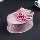 "Jewelry box fabric jewelry oval ""Pink roses"" 10х17х13 cm"