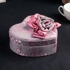 "Jewelry box fabric jewelry heart ""Pink roses"" 7х17,5x16 cm"