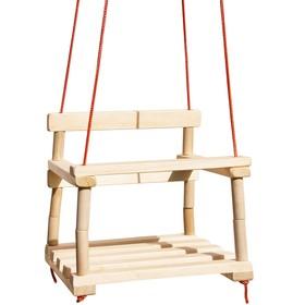 Качели подвесные деревянные, толщина каната — 6 мм