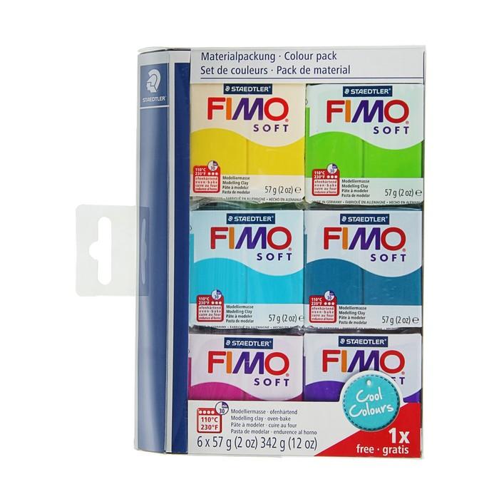 Набор пластики - полимерной глины FIMO soft, 6 цветов по 57 г «Холодные цвета 2018»