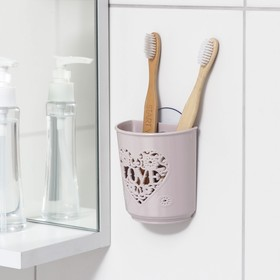 """Holder for toothbrush and toothpaste holder with suction Cup """"Love"""", MIX color"""
