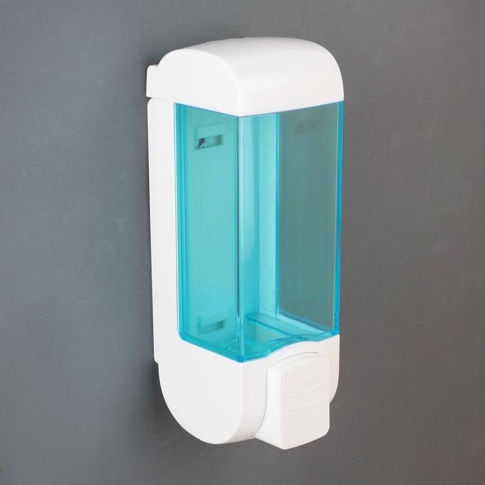 Диспенсер для жидкого мыла механический 350 мл, пластик, цвет голубой