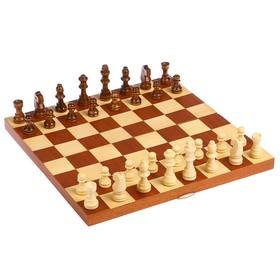 Шахматы деревянные, клетка 3.5 см, (фигуры от 2.5 см до 5.5 см), поле без краёв, 27х13.5 см