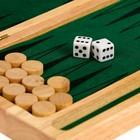 Нарды деревянные, фишка 1.5 см, кубик 1 см, зелёная подложка, 24х4.5х12х5 см