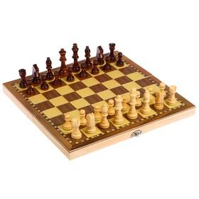 Игра настольная «Шахматы» деревянные, клетка 3 см, фигуры от 3 см до 6.5 см, 4х29х14.5 см