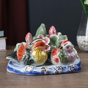 """Netsuke """"Ducks-Mandarin, Lotus"""""""