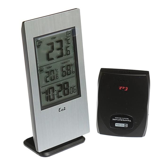 Термометр Ea2 AL802, алюминий, измерение влажности, радиодатчик, серый