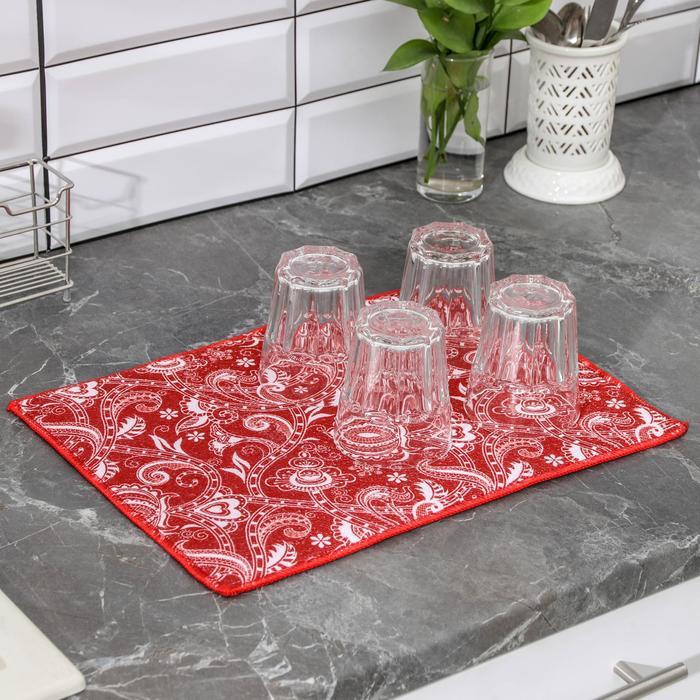 Салфетка для сушки посуды Доляна «Цветочный мотив», 30×40 см, микрофибра