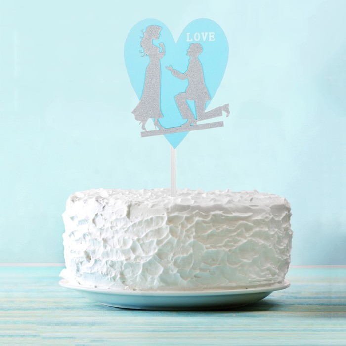 Топпер «Влюблённая пара», цвет серебряный - фото 700649