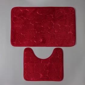 Набор ковриков для ванны и туалета Доляна «Галька, ракушки», 2 шт: 40×50, 50×80 см, цвет бордовый - фото 8161846