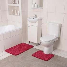 Набор ковриков для ванны и туалета Доляна «Галька, ракушки», 2 шт: 40×50, 50×80 см, цвет бордовый - фото 8161842