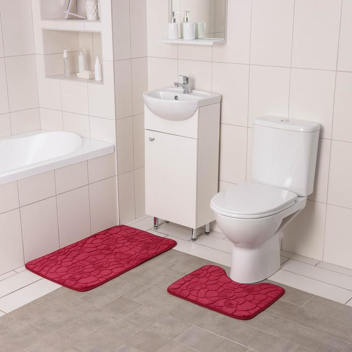 """Set of floor mats for bathroom and toilet """"Pebbles and shells"""", 2 piece, color blue"""