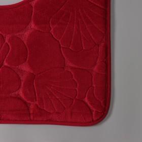 Набор ковриков для ванны и туалета Доляна «Галька, ракушки», 2 шт: 40×50, 50×80 см, цвет бордовый - фото 8161843