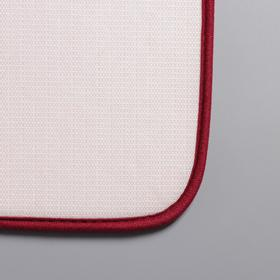 Набор ковриков для ванны и туалета Доляна «Галька, ракушки», 2 шт: 40×50, 50×80 см, цвет бордовый - фото 8161844