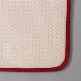 Набор ковриков для ванны и туалета Доляна «Галька, ракушки», 2 шт: 40×50, 50×80 см, цвет бордовый - фото 8161845