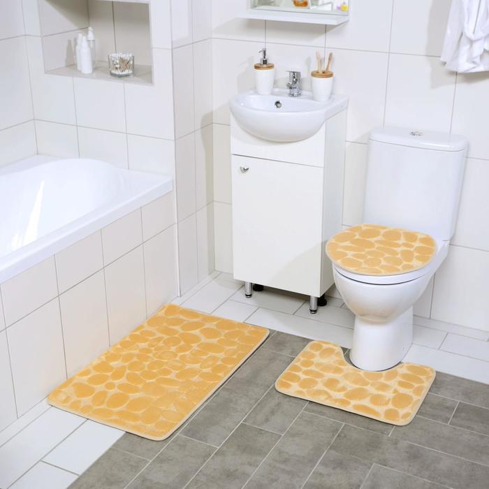 Набор ковриков для ванны и туалета Доляна «Галька», 3 шт: 36×42, 40×50, 50×80 см, цвет бежевый - фото 7929953