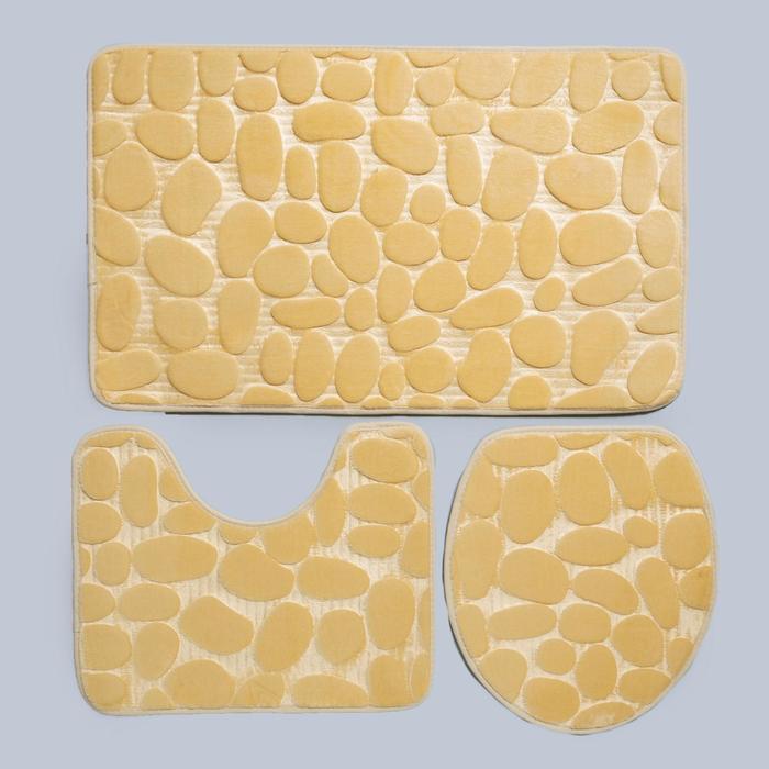 Набор ковриков для ванны и туалета «Галька», 3 шт: 36×42, 40×50, 50×80 см, цвет бежевый