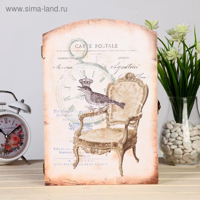 """Ключница дерево 6 крючков """"Антикварный стул"""" 29х20х6,8 см"""