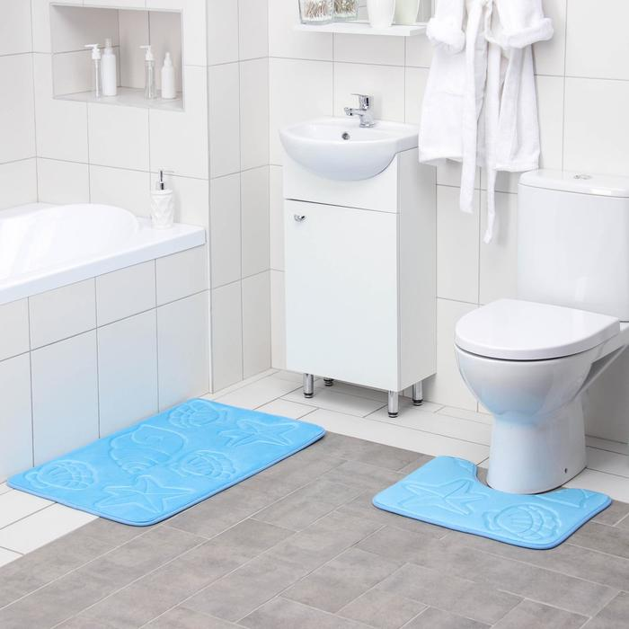 """Set of floor mats for bathroom and toilet """"Shell"""" body, 2 PCs"""