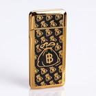 Зажигалка в подарочной коробке, USB, Биткоин, черный с золотом, 3,5*7 см