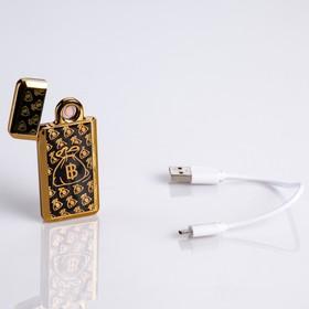 "Lighter e ""Bitcoin"" gift box, USB, spiral, black and gold, 3.5x7 cm"
