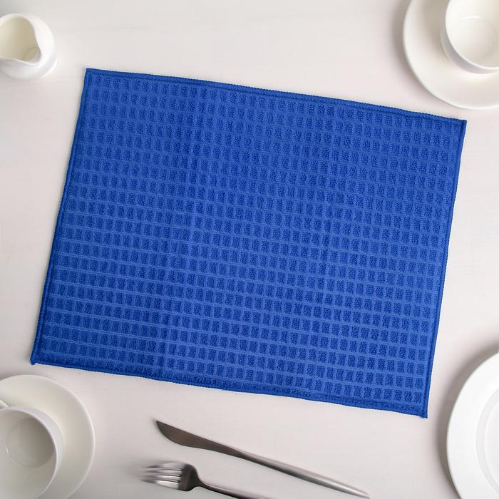 Коврик для сушки посуды 30×40 см, микрофибра, цвет синий