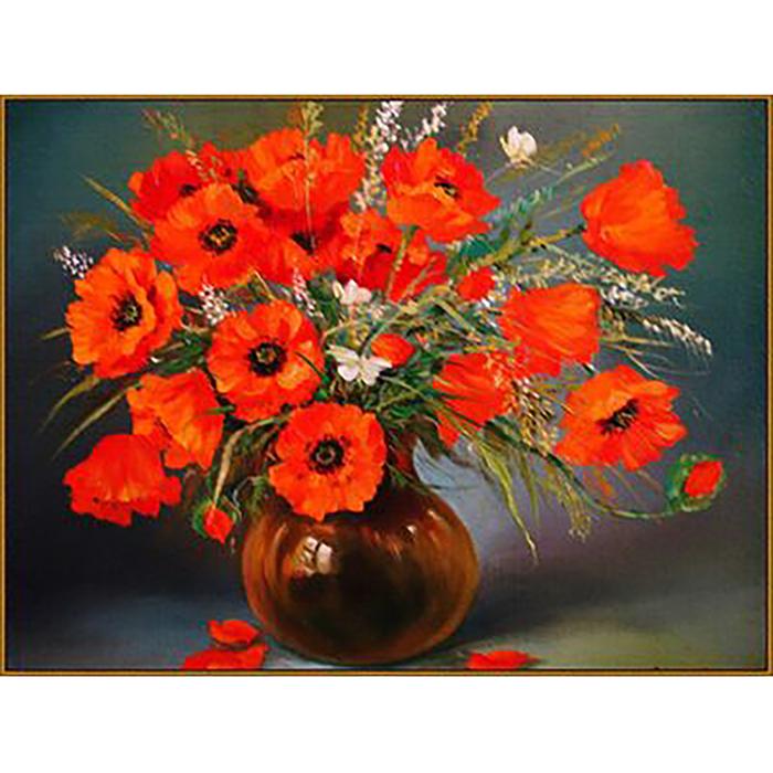 Алмазная мозаика «Маки в вазе», 17 цветов