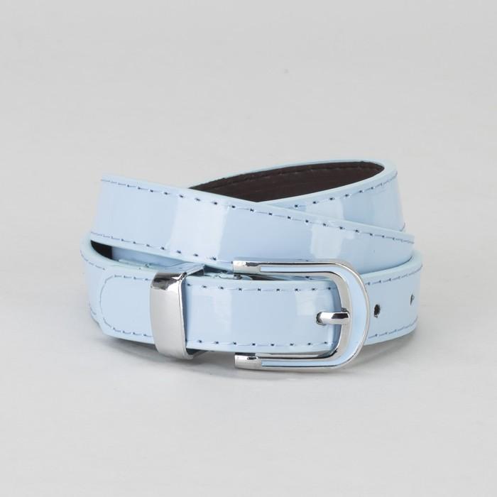 Ремень, гладкий, пряжка и хомут металл, ширина - 2,2 см, цвет голубой