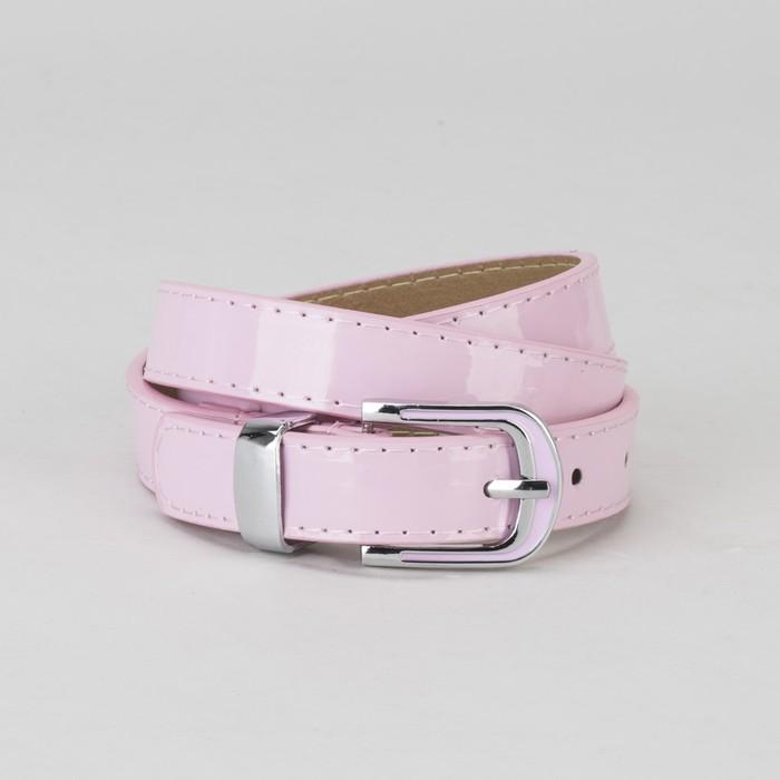 Ремень, гладкий, пряжка и хомут металл, ширина - 2,2 см, цвет розовый