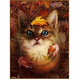 Алмазная мозаика «В осенних листьях», 29 цветов