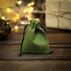 Мешочек подарочный из холщи, зелёный, 7 х 9 см
