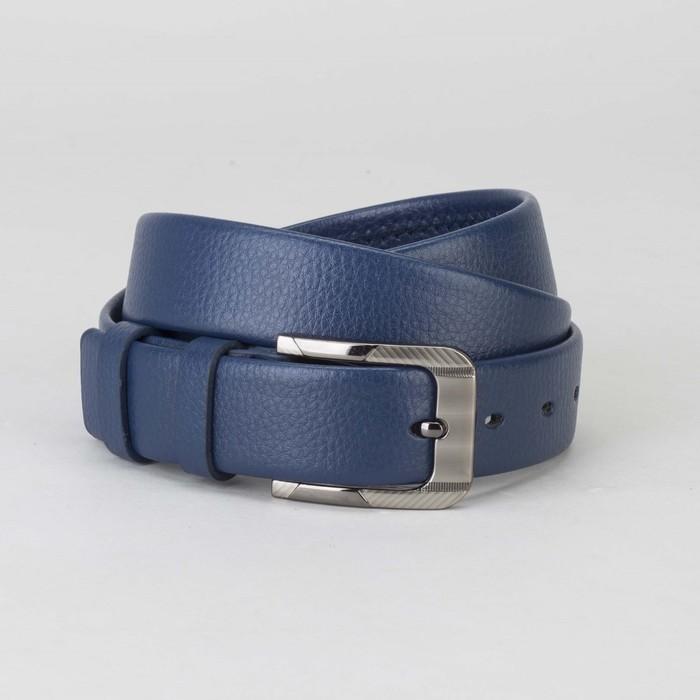 Ремень мужской, гладкий, пряжка тёмный металл, ширина - 3 см, цвет синий