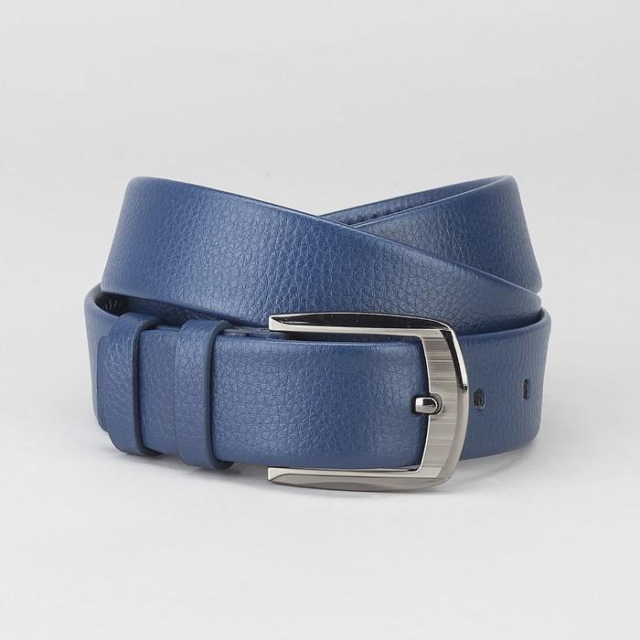 Ремень мужской, пряжка тёмный металл, ширина - 3,7 см, цвет синий