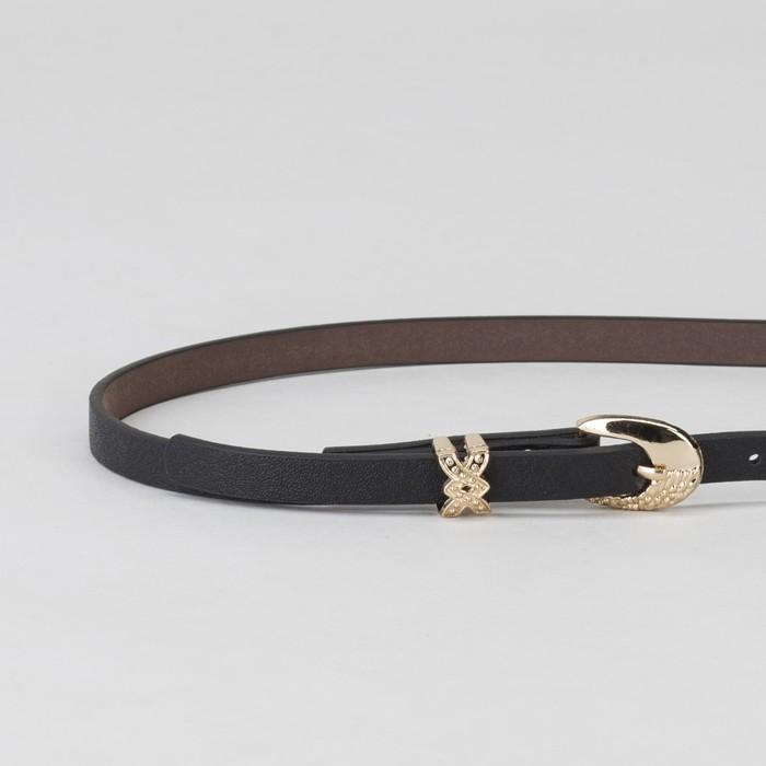 Ремень женский, пряжка и хомут золото, ширина - 0,8 см, цвет чёрный