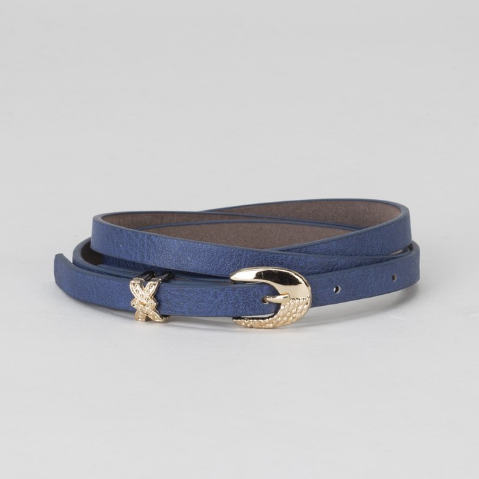 Ремень женский, пряжка и хомут золото, ширина - 0,8 см, цвет синий