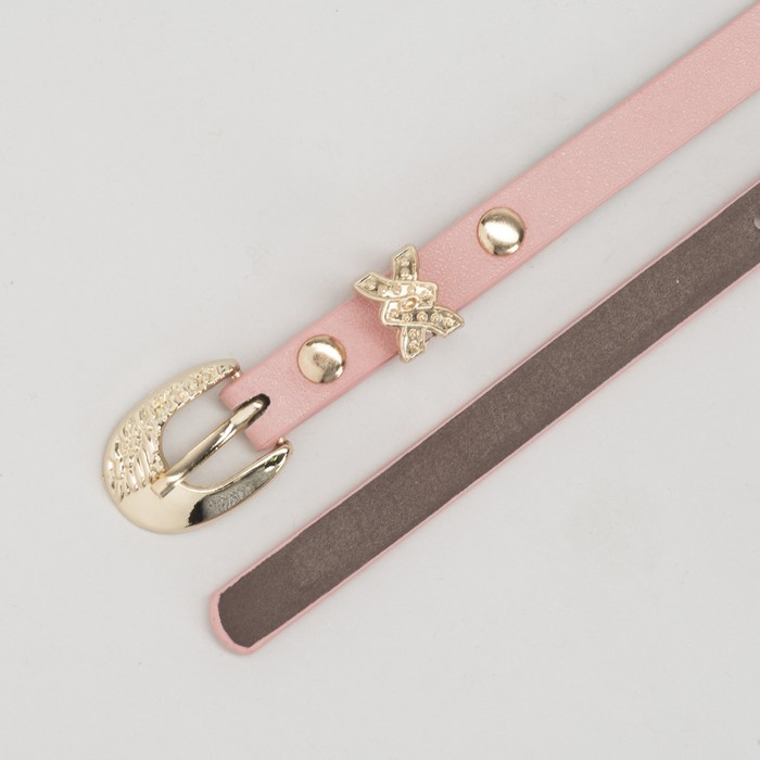 Ремень женский, пряжка и хомут золото, ширина - 0,8 см, цвет розовый