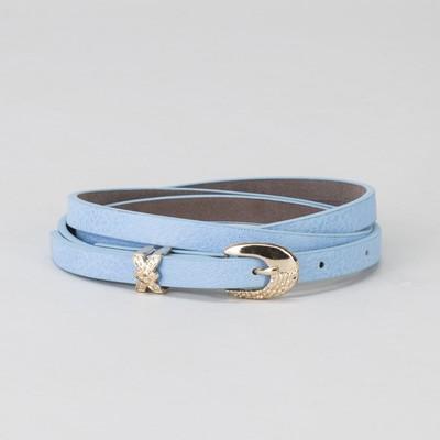 Women's belt, buckle and yoke gold, width - 0.8 cm, color blue
