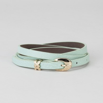 Women's belt, buckle and yoke gold, width - 0.8 cm, color mint
