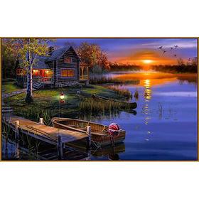 Алмазная мозаика «Дом возле озера», 39 цветов