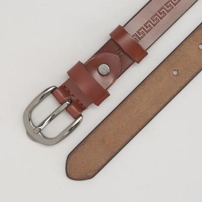 Ремень женский, пряжка тёмный металл, ширина - 2 см, цвет коричневый