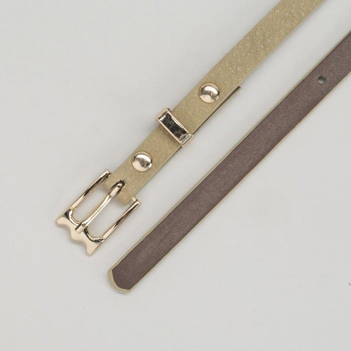 Ремень женский, пряжка и хомут золото, ширина - 0,8 см, цвет хаки