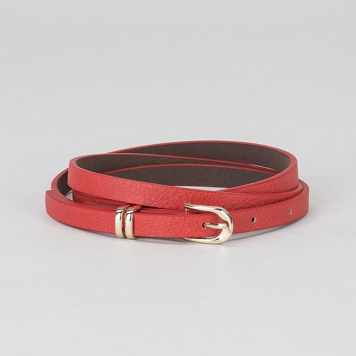 Ремень женский, пряжка и хомут золото, ширина - 0,8 см, цвет красный